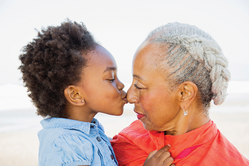 Child kissing older woman on nose