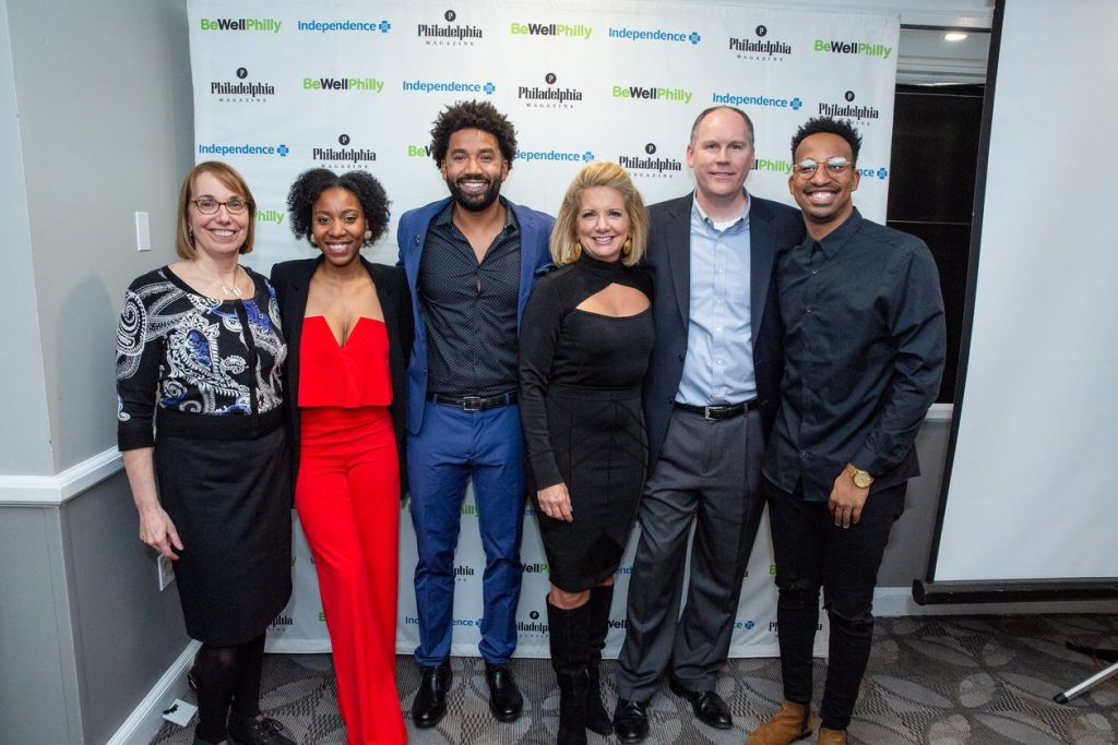 Marian Uhlman, Alanna Gardner, Wendell Holland, Tracy Davidson, Todd Irwin, and Christian Crosby atBe Well Philly Health Hero Challenge reception on November 27.