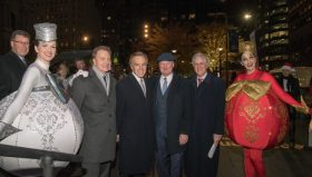 The 2018 Deck the Hall Light Show premiered at City Hall with help from two life-sized holiday ornaments and (L to R)  Bernie Prazenica, president and general manager of 6ABC; Paul Tufano, Independence executive vice president; Mayor Jim Kenney; and Paul Levy, president and CEO of Center City District.