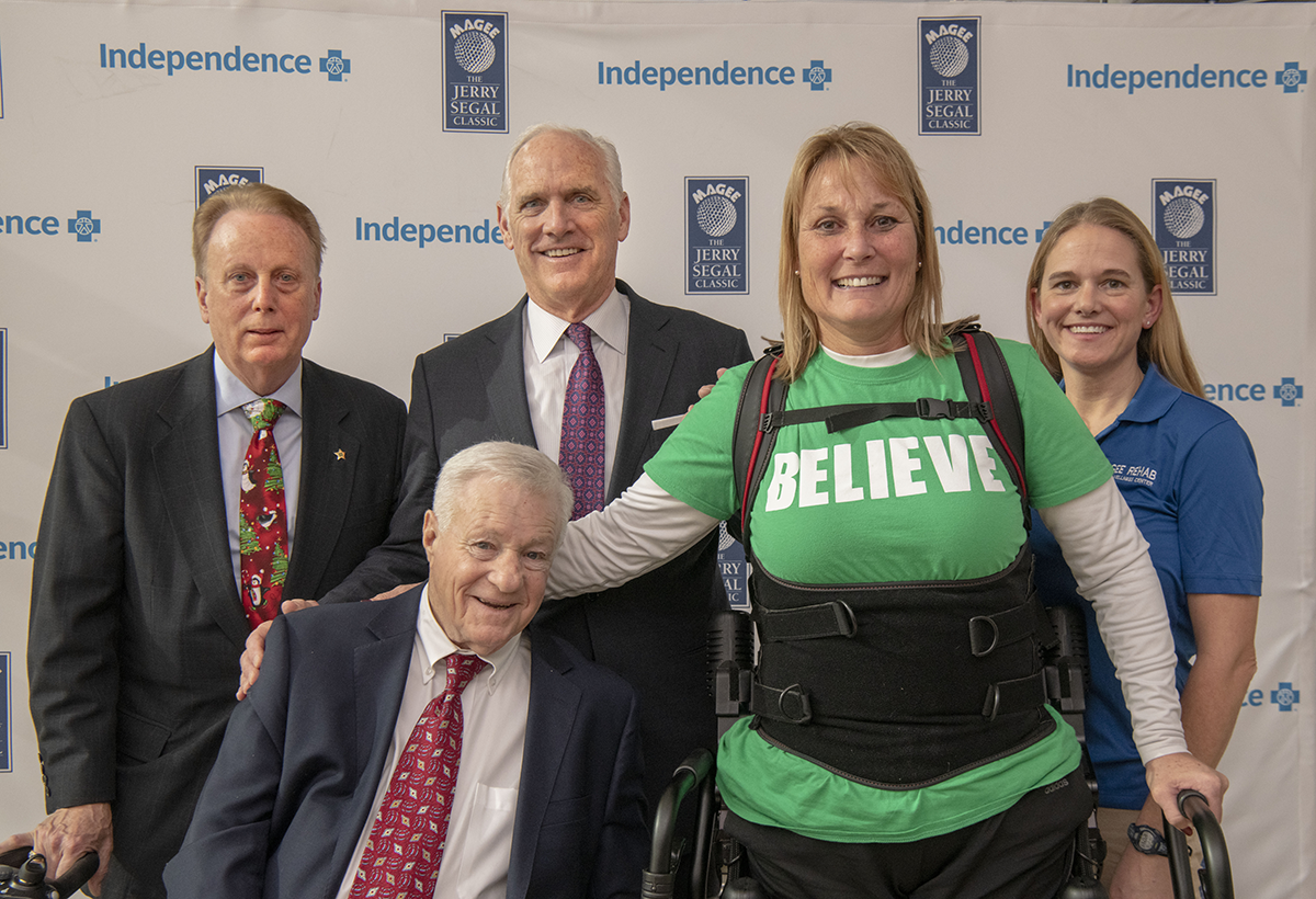 Pictured from left to right: Dr. Jack Carroll, president and CEO at Magee Rehabilitation Hospital (Magee); Jerry Segal of the Jerry Segal Classic; Dan Hilferty, president and CEO at Independence; Cyndi Corcoran, Magee patient; and Elizabeth Watson, physical therapist at Magee