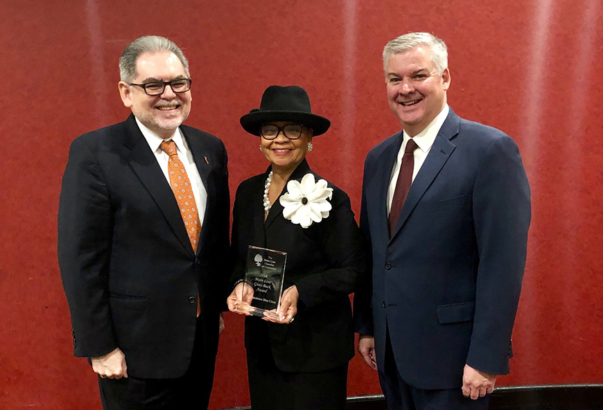 Lorina Marshall-Blake, center, with Pedro Ramos, President and CEO, The Philadelphia Foundation (left) and Bernard Dagenais, President and CEO, The Main Line Chamber of Commerce.