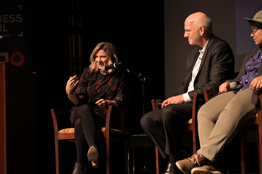 Michelle Histand, director of Innovation at Independence, moderates a panel discussion at the Arts + Business Council's Defining Innovation Speaker Series