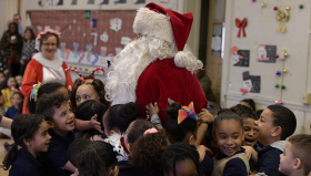 Santa and students