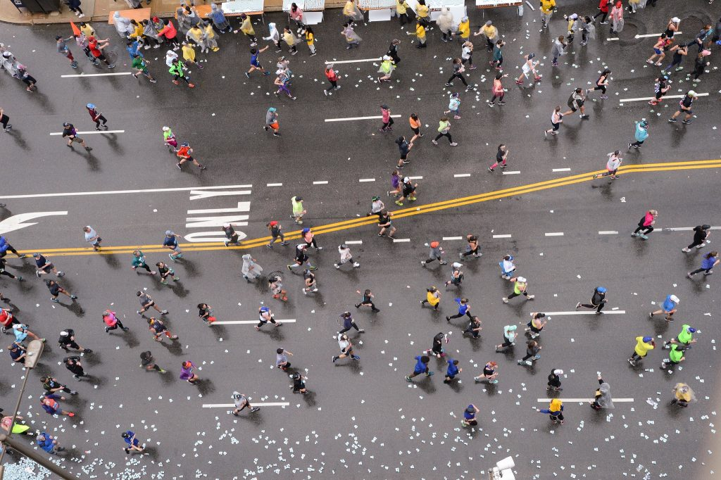 Aerial view of runners at the 2019 Blue Cross Broad Street Run