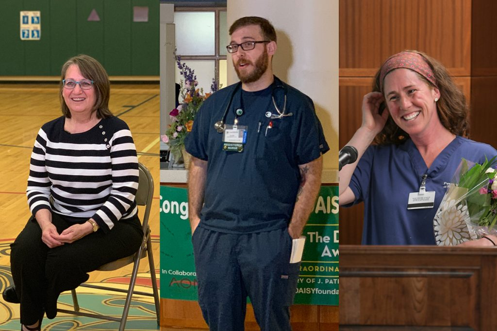 Side by side images of each Celebrate Caring winner surprised at work during Nurses Week.