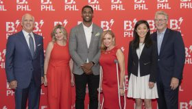 Celebrating the announcement of B.PHL, Philadelphia's first city-wide Innovation Festival, are, left to right: Daniel J. Hilferty, CEO of Independence Health Group and chairman of the board of directors of The Chamber of Commerce of Greater Philadelphia; Michelle Histand, director of Innovation at Independence Blue Cross; Marques Colston, former NFL player, founder and managing partner of Dynasty Innovation, and managing director of the Center for Innovation at Virtua Health; Sheila Hess, city representative for the City of Philadelphia; Rui Jing Jiang, co-founder and CEO of Avisi Technologies; and Rob Wonderling, president and CEO of The Chamber of Commerce for Greater Philadelphia.