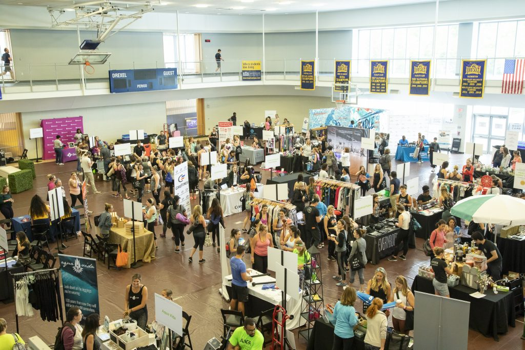 overhead shot of Be Well Philly Boot Camp 2019 wellness marketplace at Drexel Recreation Center