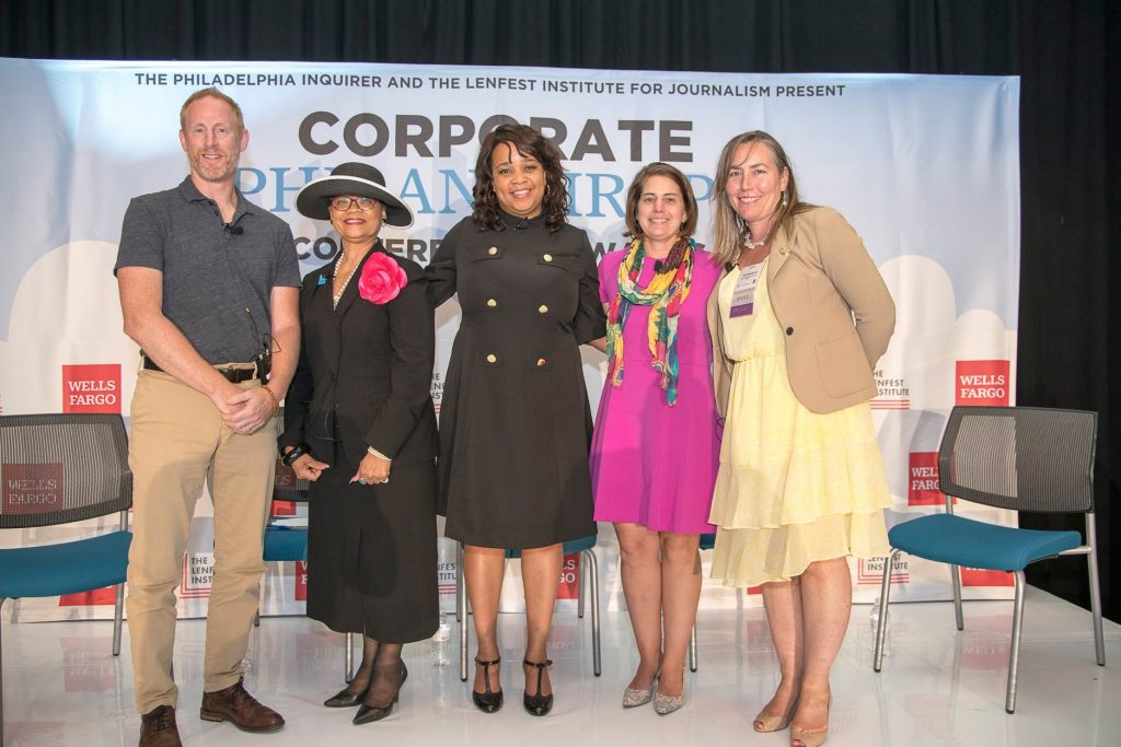 Pictured left to right are panelists Jay Coen Gilbert, co-founder, B-Lab;, Lorina Marshall-Blake, President, IBC Foundation, Aishah Miller, executive director and senior vice president, Corporate Philanthropy and Community Relations, Wells Fargo; Deborah O'Brien, senior vice president and Corporate Social Responsibility manager, Bank of America, and moderator Inquirer business columnist Erin Arvedlund