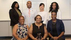 Independence's 2019 Urban League of Philadelphia Leadership Forum graduates, pictured from left, bottom row are: Lorraine Stewart, Tracey Carter, and MeLissa Pernell. Top row, from left are: Nicole Roberts, Sean Sanders, Thao (Katie) Vo, and Brandi Medley.