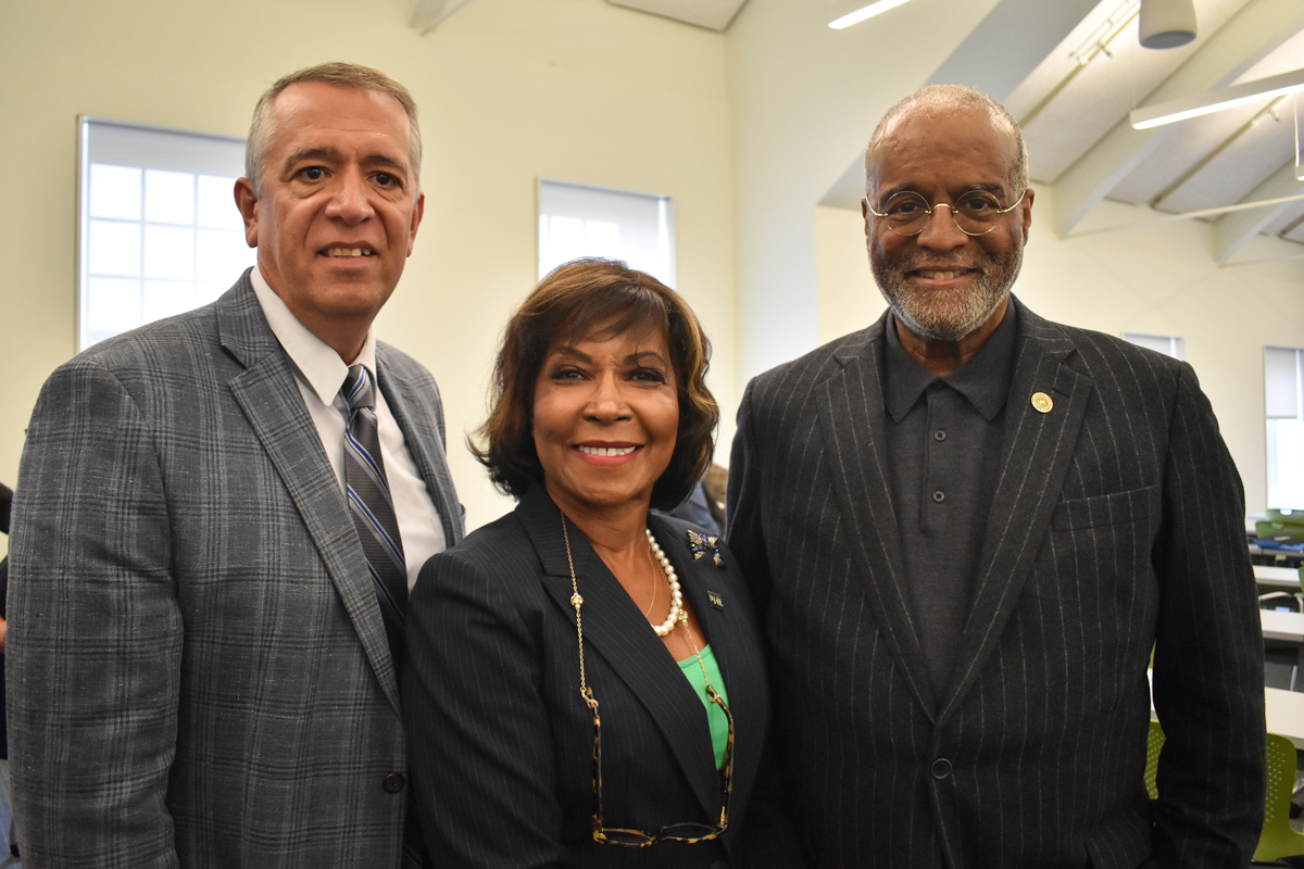 Chuck Stefanosky with Councilwoman Blondell Reynolds Brown and A. Bruce Crawley at the Councilwoman's 2019 MED Week event at The Navy Yard