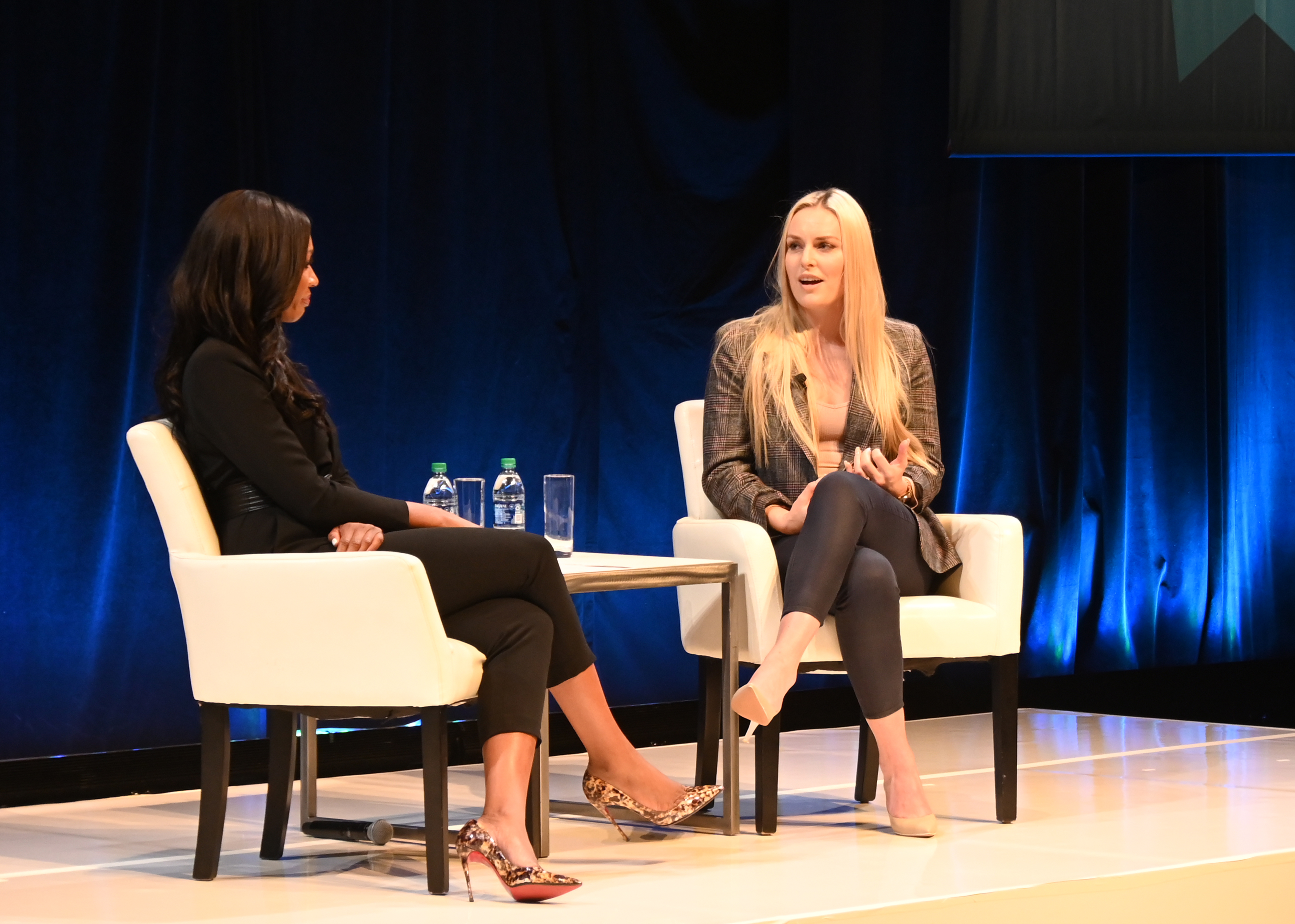Cari Champion and Lindsey Vonn on stage at the 2019 Health of America Forum at the Kimmel Center in Philadelphia
