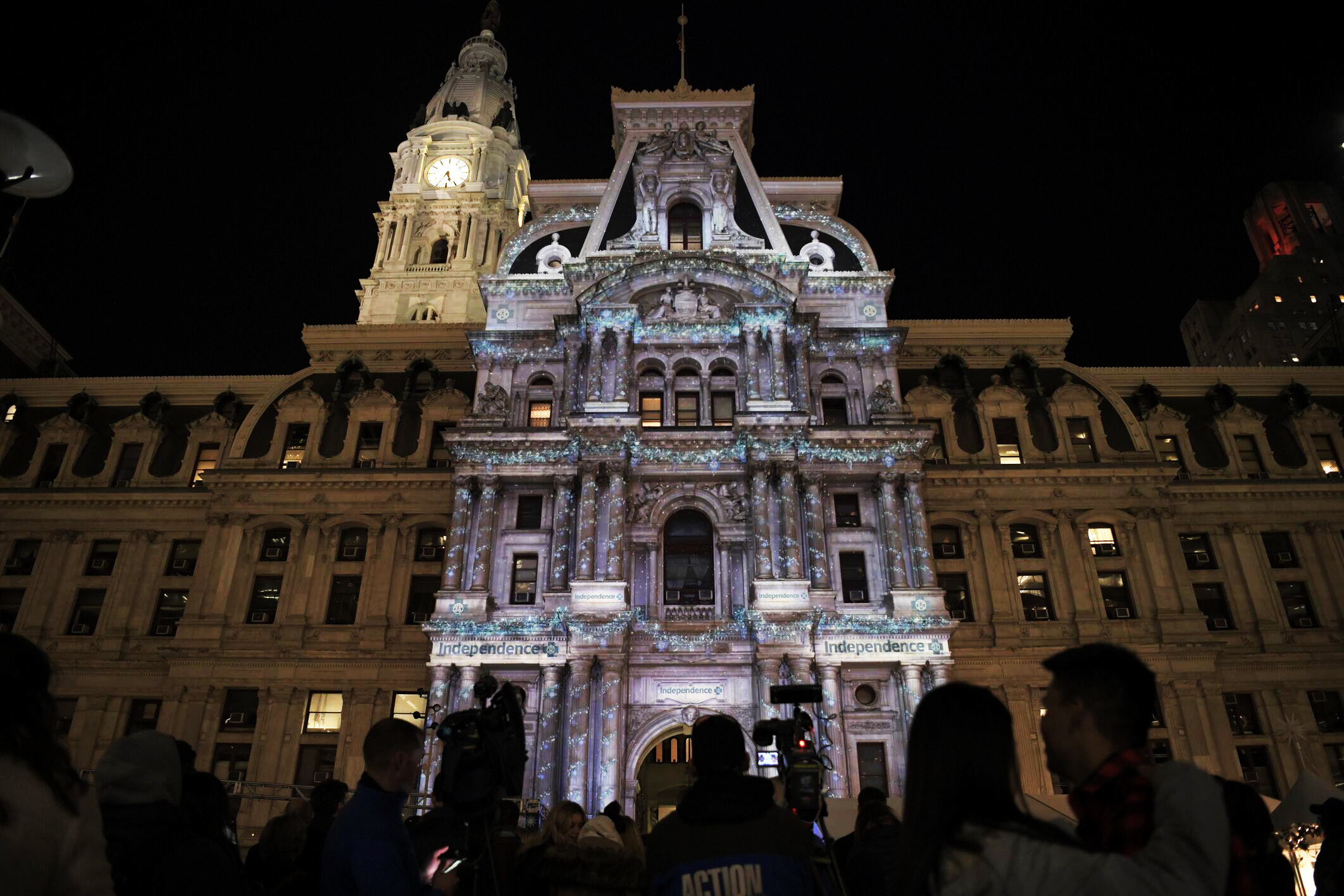 Philadelphia's City Hall at Dilworth Park decked out with festive lighting for the Deck the Hall light show, sponsored by Independence Blue Cross