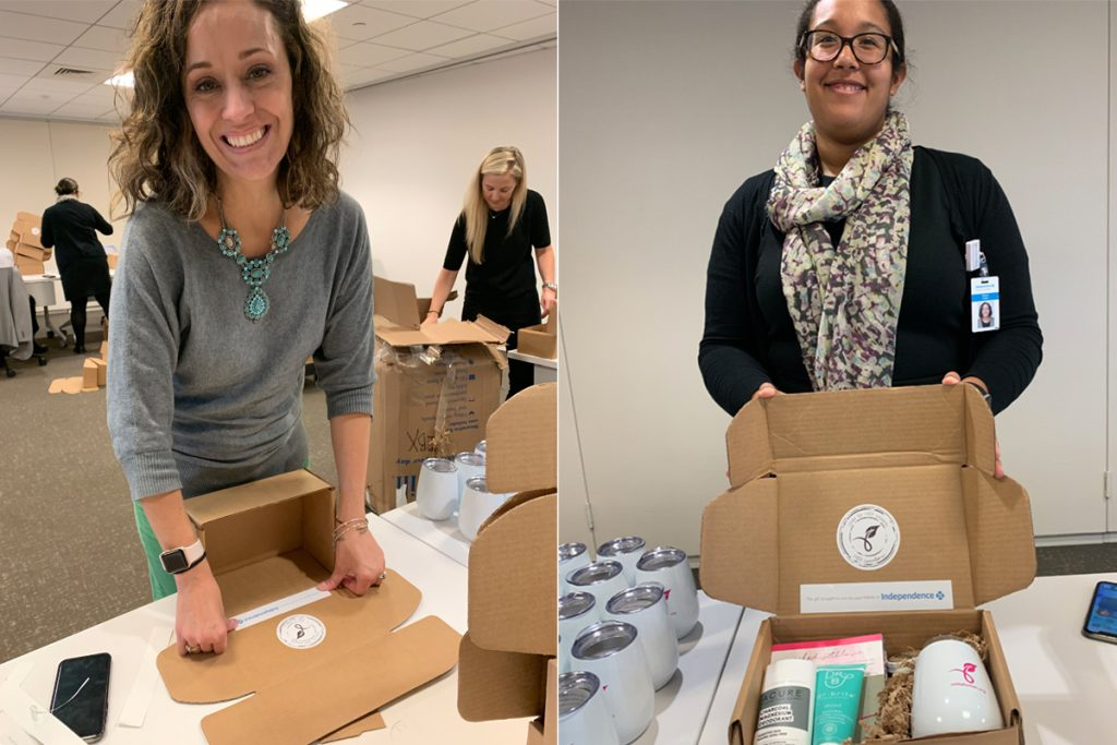 Diptych of two smiling female IBX associates packing Unite for HER care boxes at a volunteer event