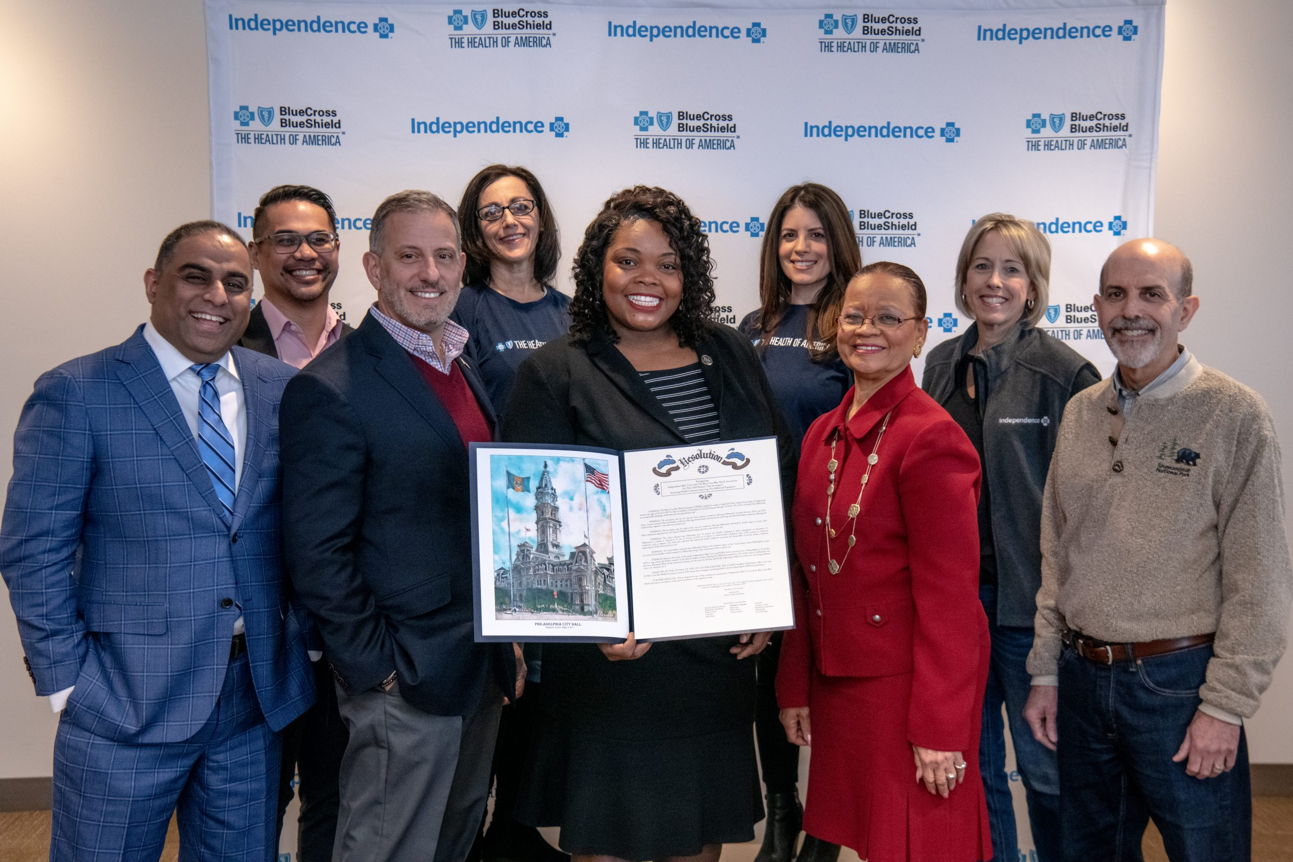 Group photo from City Council Resolution recognizing Independence Blue Cross's efforts to address health challenges facing millennials