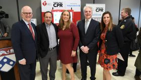 Group photo from American Heart Association CPR Kiosk unveiling at the Perelman Center