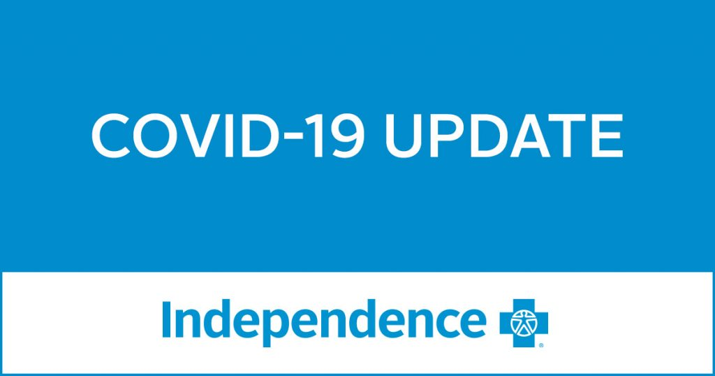 COVID-19 Update written in white on a blue background with a blue Independence Blue Cross logo on a white background at the bottom