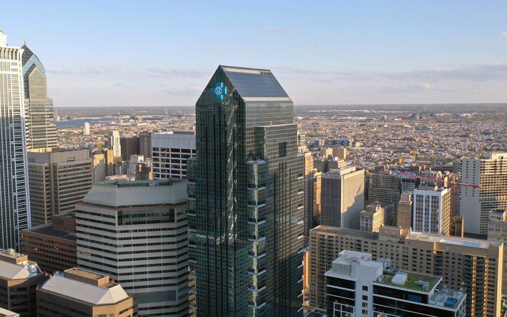 Birds eye view of Independence Blue Cross headquarters in Philadelphia