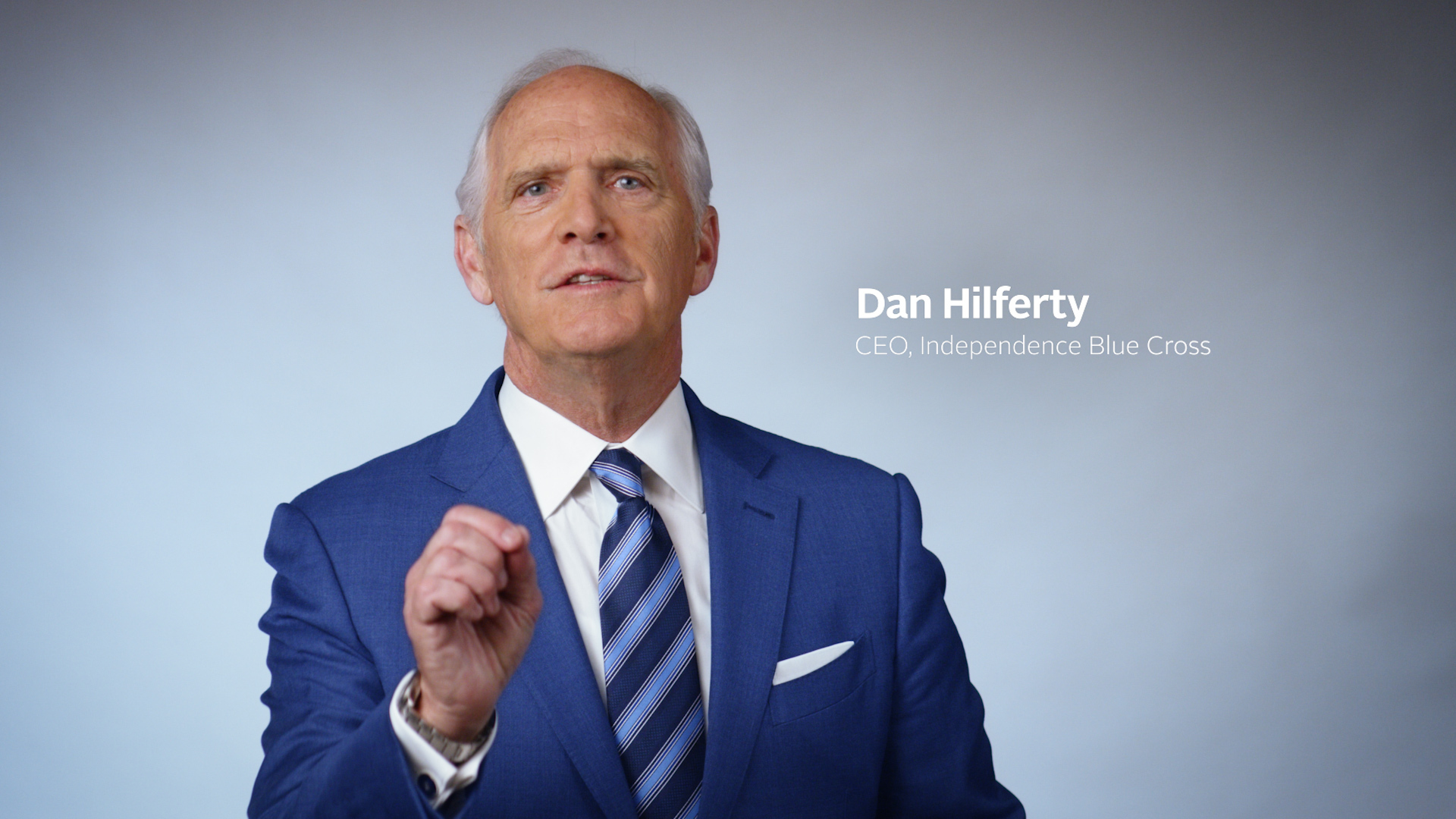 Still image of Independence Blue Cross CEO Dan Hilferty speaking in Beat COVID-19 video