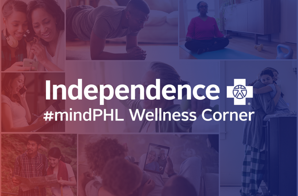 text: Independence Blue Cross logo, #mindPHL Wellness Corner. Text is overlaid on a collage of wellness images washed with a red to blue ombre overlay