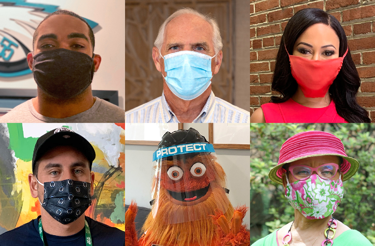 Photo grid of local public figures wearing masks to promote the important safeguard against COVID19