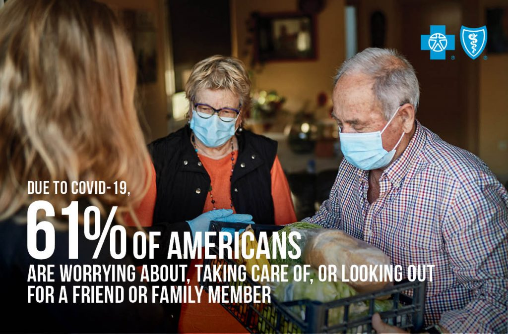 image of two older adults in masks accepting a delivery of groceries from a caregiver. Text overlay reads: Due to COVID-19, 61% of Americans are worrying about, taking care of, or looking out for a friend or family member