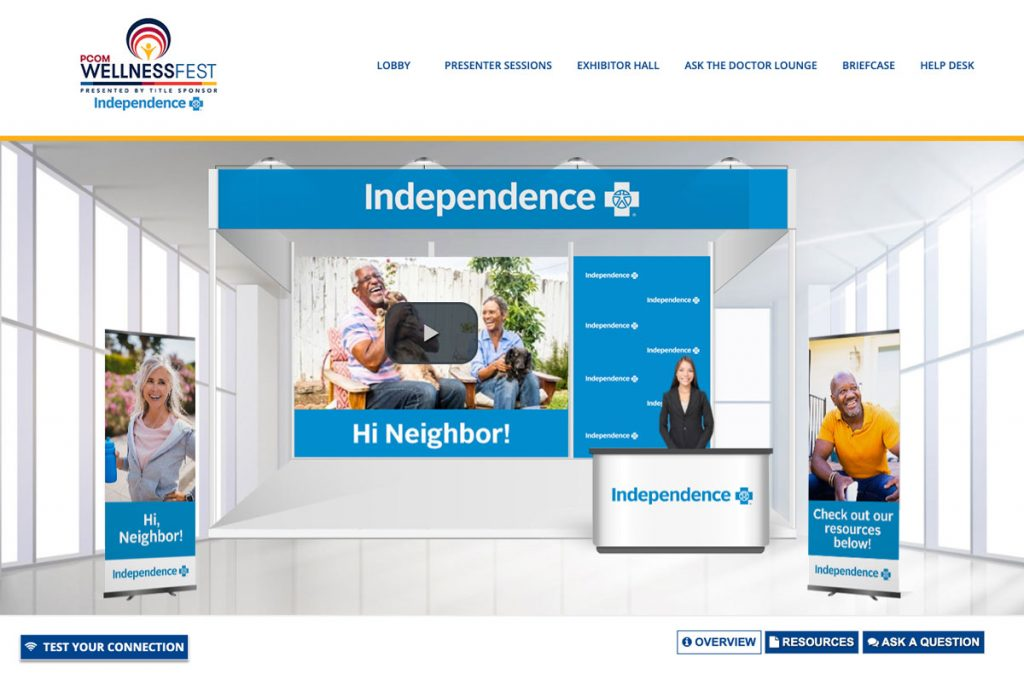 Independence Blue Cross virtual booth for the PCOM Wellness Fest