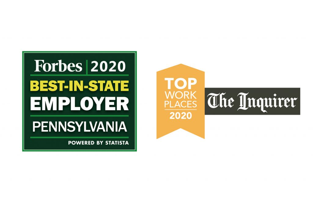 Forbes 2020 Best-in-State Employer for Pennsylvania badge on left, Inquirer Top Workplaces 2020 flag on right