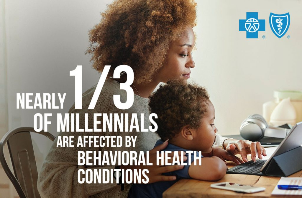 Black mom with curly hair sits at her laptop with baby on her lap. Text reads: Nearly 1/3 of Millennials are affected by behavioral health conditions
