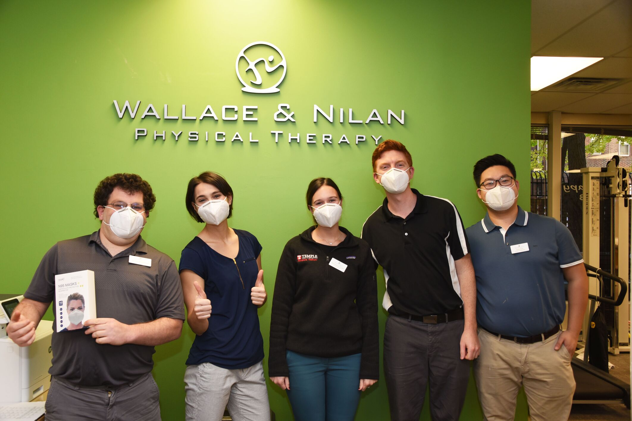 Image of staff at Wallace & Nilan PT wearing personal protective masks from Independence