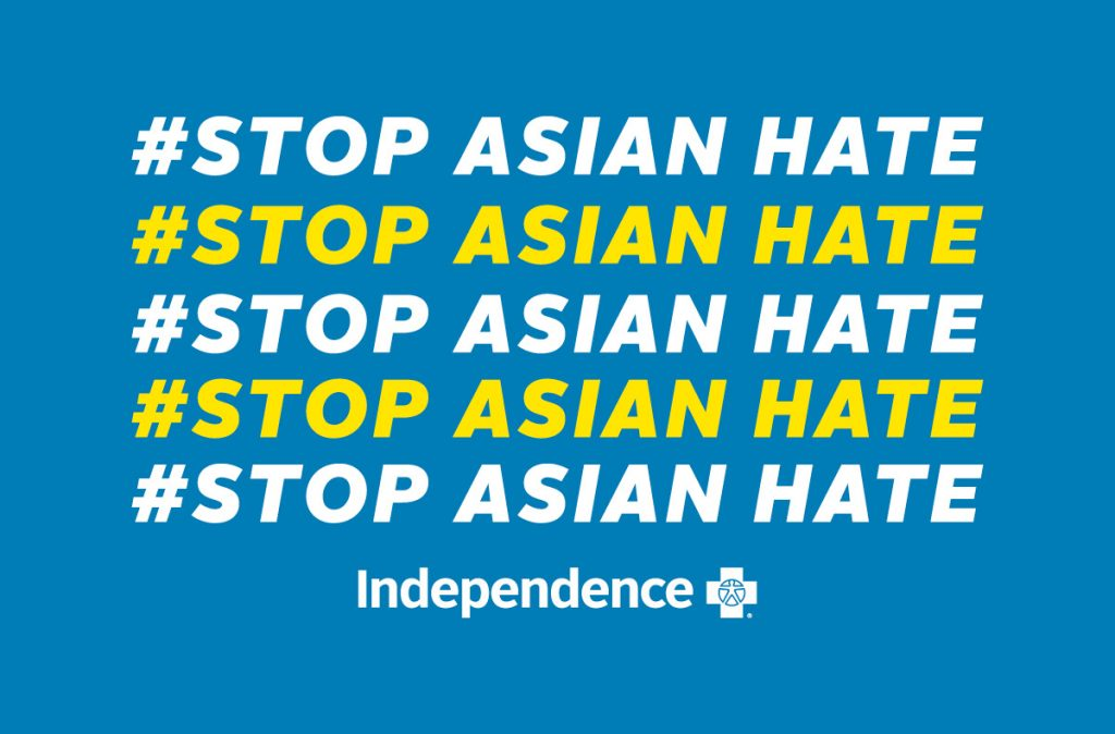 Stop Asian Hate hashtag graphic with Independence logo